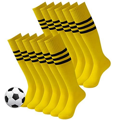 3street Soccer Game Socks, Unisex High Performance Over Knee Winter Sport Breathable Soccer Football Baseball Rugby Tube Socks for Back to School Party Bright Yellow 12 - Stripe Sport Socks Winter
