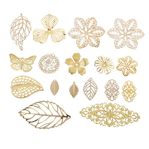 (Prettyia 17 Pieces Assorted Metal Filigree Leaf Flower Charms Pendants Wedding Bridal Hair Jewelry Making Findings Accessories Gold)