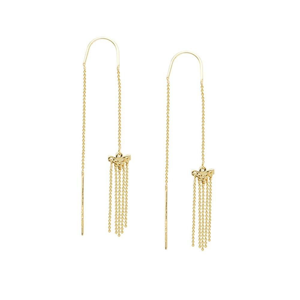 14kt Yellow Gold Stationary Beaded Threader Earrings