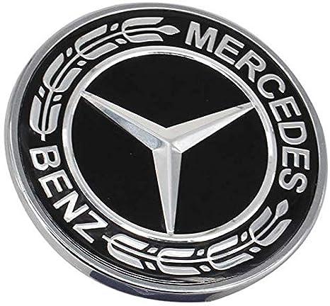 Luckily 3-piece Mercedes Benz Logo Metal Flat Vehicle Hood Star Emblem Badge Steering Wheel Decal Sticker+Multimedia Control Decal Sticker for Mercedes Benz Class Decoration Black