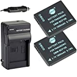 DSTE® 2x DMW-BCF10 DMW-BCF10E Battery + DC57 Travel and Car Charger Adapter for Panasonic Lumix DMC-F2 FT3 FT4 FX68 FX700 FX75 TS2 TS3 TS4 F3 FH1 FH20 FH22 FH3 Camera