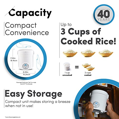 Aroma Housewares Mi 3-Cup (Cooked) (1.5-Cup UNCOOKED) Digital Cool Touch Mini Rice Cooker by Aroma Housewares (Image #4)