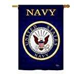 Breeze Decor – Navy Americana – Everyday Military Impressions Decorative Vertical House Flag 28″ x 40″ Printed In USA For Sale
