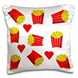 3D Rose Image of Boxes of French Fries Repeat Pattern Pillow Case, 16'' x 16''