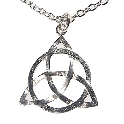 Delicate Triquetra Trinity Knot Silver-dipped Pendant Necklace on 18