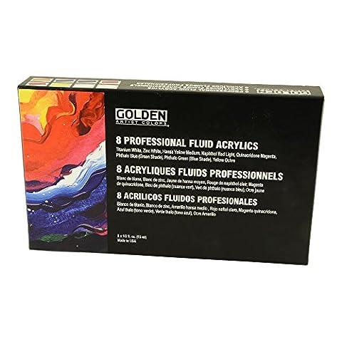 Golden Fluid Acrylic, 1/2 Ounce Set Of 8 (Acrylic Golden Paint)