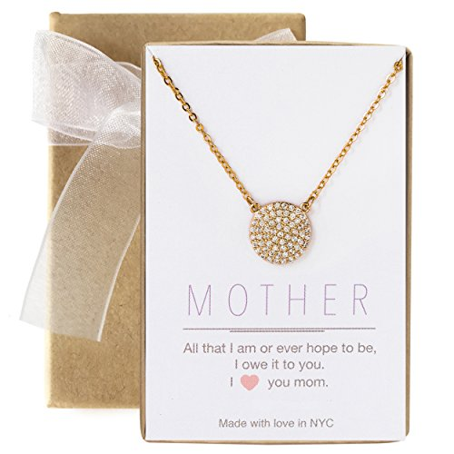 A+O Gift for Mom, CZ Pave Disc Necklace in 14K Gold Vermeil
