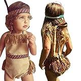 Vibola Baby Girl Primitive Tassel Halter Romper Jumpsuit Headband Clothes Outfits Set (Size:18M)