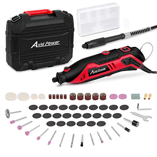 Rotary Tool Kit Variable Speed with Flex Shaft, 61pcs Accessories and Carrying Case for Grinding, Cutting, Wood Carving, Sanding, and Engraving