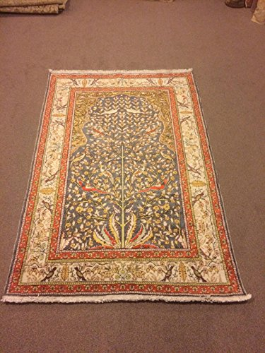 3.11x5.11 Tree Of Life Design Turquoise Color Silk On Cotton Rug Shiny Rug Shiny Carpet Handmade Carpet Handmade Rug Code:F660