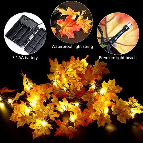 Thanksgiving Decorations Lighted Fall Garland, LED Autumn Maple Leaves String Lights Fall Decorations (Warm White)