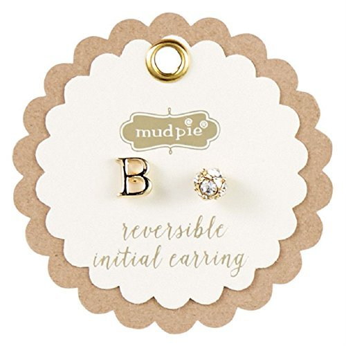 Mud Pie Initial Pave Pierced Earrings-B, Gold - Pave Sphere