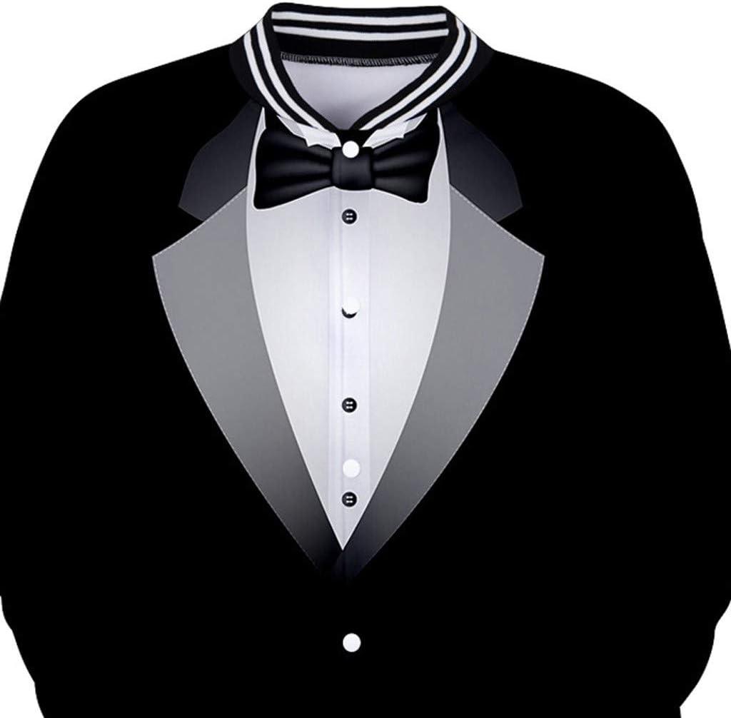 Ennglun Mens Varsity Jacket,Men Suit Pattern 3D Print Button O-Neck Sweatshirt Tops Outwear for Boys