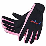 DIVE & SAIL Wetsuits 1.5 mm Premium Neoprene Gloves Scuba Diving Five Finger Glove, Pink, Small