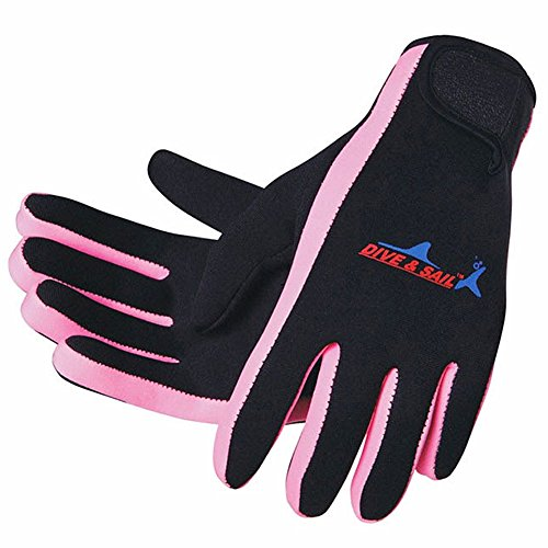 - DIVE & SAIL Wetsuits 1.5 mm Premium Neoprene Gloves Scuba Diving Five Finger Glove, Pink, Small
