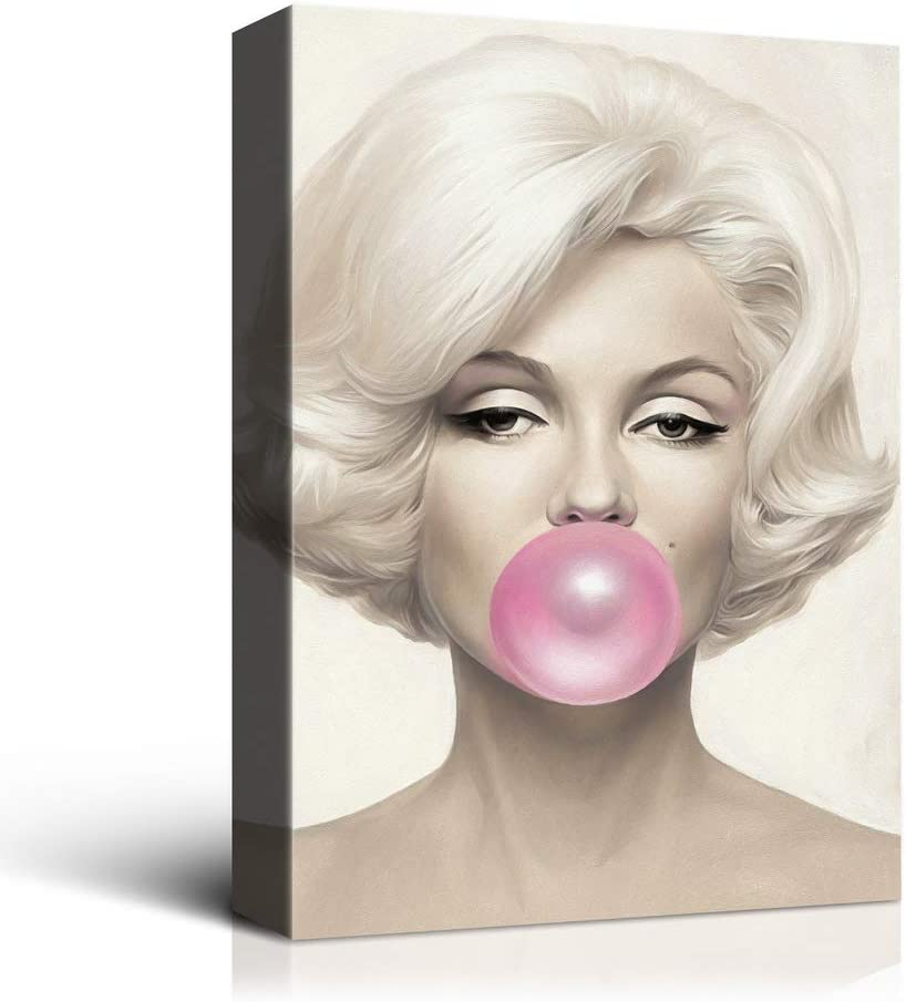 Laoife Beauty Portrait Marilyn Monroe and Bubble Gum Canvas Wall Art, 20x30 Inch Body Art Giclee Prints Artwork Decor for Living Room, Bedroom, Office and Hotel