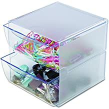 """Deflecto Stackable Cube Organizer, Desk and Craft Organizer, 2 Drawers, Clear, Removable Drawers and Dividers, 6""""W x 6""""H x 7 1/8""""D (350101)"""