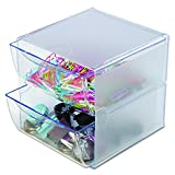 Deflecto Stackable Cube Organizer, Desk and Craft Organizer, 2 Drawers, Clear, Removable Drawers and Dividers, 6'W x 6'H x 7 1/8'D (350101)