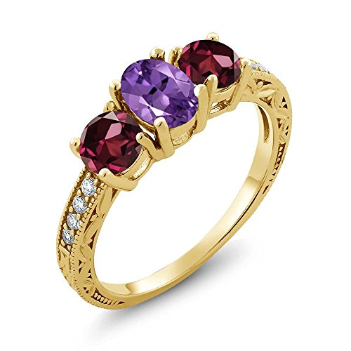 Gem Stone King 2.07 Ct Purple Amethyst Red Rhodolite Garnet 18K Yellow Gold Plated Silver Ring (Size 7) ()