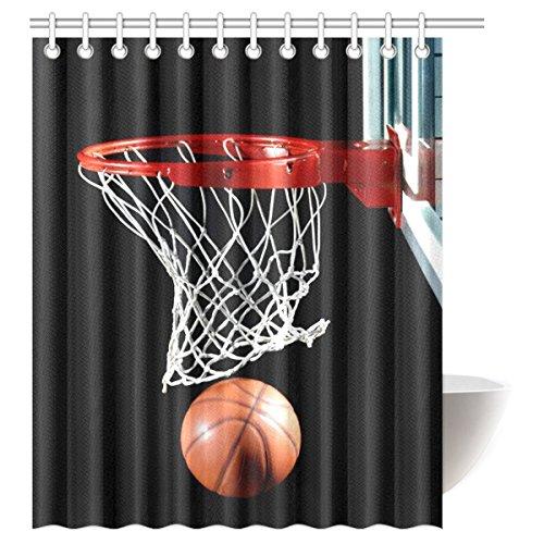 InterestPrint Basketball Waterproof Polyester Fabric 60 (w) x 72 (h) Shower Curtain and Hooks