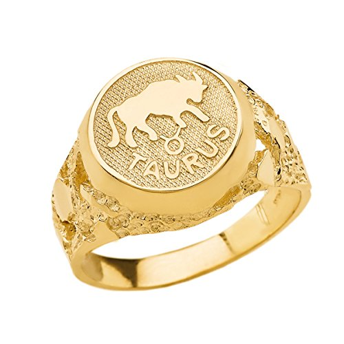 Solid 14k Yellow Gold Taurus Zodiac Sign Band Nugget Men's Ring (Size 7) ()