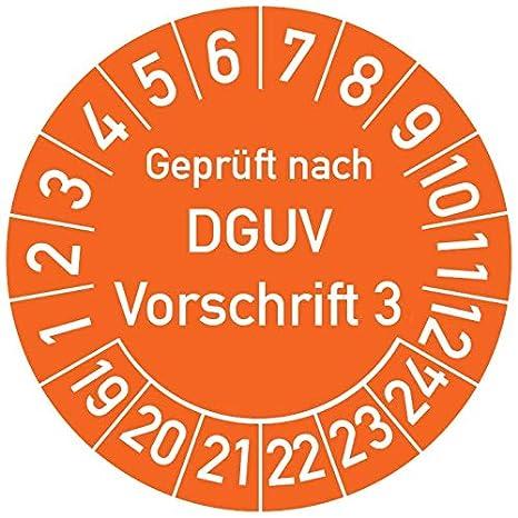 Pr/üfetikett Pr/üfsiegel Plakette DGUV V3 Gepr/üft nach DGUV Vorschrift 3 Pr/üfplakette 20 mm /Ø, Blau in verschiedenen Farben und Gr/ö/ßen 250 St/ück