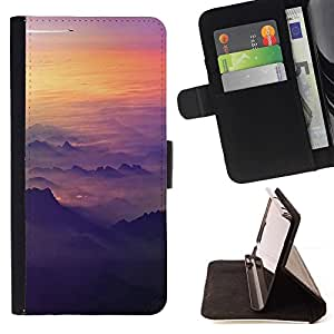 Momo Phone Case / Flip Funda de Cuero Case Cover - Cielo Avión Sunset Monta?as Vuelo plano - Samsung Galaxy A3