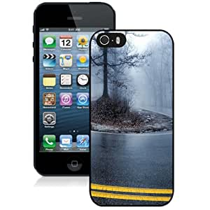 Beautiful Designed Antiskid Cover Case For iPhone 5S Phone Case With Foggy Road Autumn Trees Asphalt_Black Phone Case