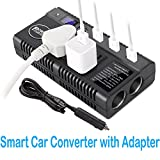 120W DC 12V 24V to DC 110V 230V Smart Car Power Voltage Converter Charger With Dual Cigarette Lighter Intelligent Display Screen 6.8A USB Charging Ports DC Universal Charger for Phones Laptop Camera