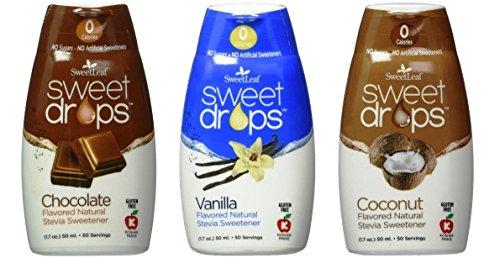 SweetLeaf Sweet Drops Flavored Stevia Sweetener 3 Flavor Variety Bundle, 1 Ea: Chocolate, Coconut, Vanilla