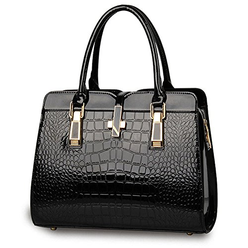 Crocodile Functional Leather Style and for Handbag women American Black Patent Bright European Pattern Tote ladies Classic High bag shoulder and Handbag grade rqHxZrw0