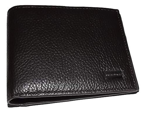 Bruno Magli Mens Pebbled Leather 6 Pocket Bifold Wallet Dark Brown
