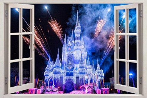 Frozen Disney Castle 3D Window View Decal WALL STICKER Decor Art Mural H62, Giant