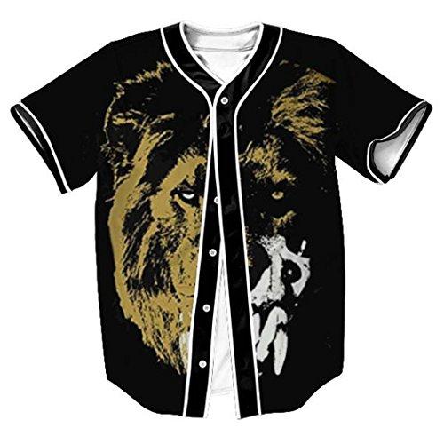 HOP FASHION Youth Unisex Hipster Baseball Basketball Football Jersey Short Sleeve 3D Lion Print Dance Team Uniform Button Down Cardigan Shirt HOPM007-44-S