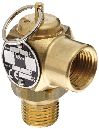 (Apollo Valve 10-512 Series Brass Safety Relief Valve, ASME Steam, 40 psi Set Pressure, 1/2