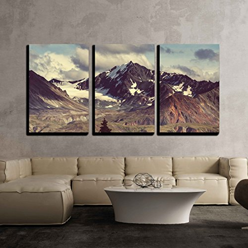 Alaska Wall - wall26 - 3 Piece Canvas Wall Art - Mountains in Alaska - Modern Home Decor Stretched and Framed Ready to Hang - 24