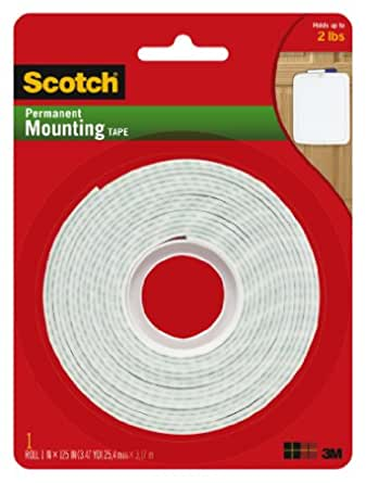Scotch Brand 112L Permanent Mounting Tape, 1 in x 125 in, White