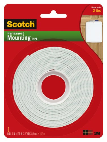 Majestic Square Two Light - Scotch Permanent Mounting Tape, 1 Inch x 125 Inches
