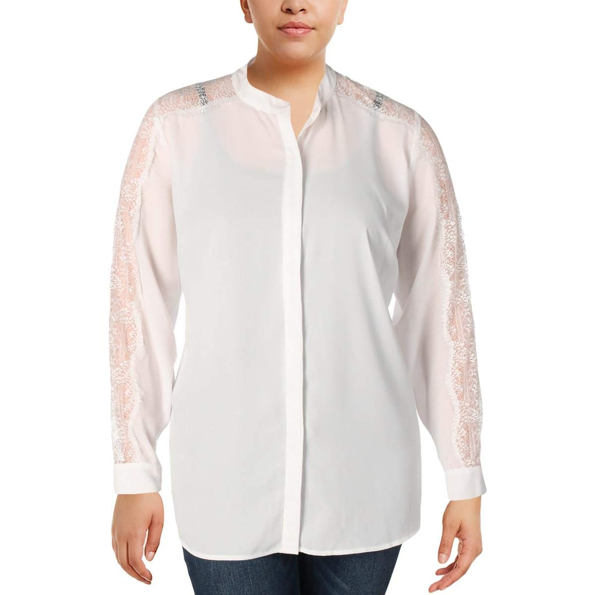 b528aec6 Amazon.com: Vince Camuto Womens Plus Sheer Lace Inset Button-Down Top Ivory  1X: Clothing