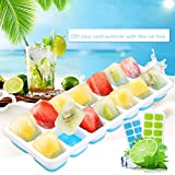 TraderPlus 2 Pack Silicone Ice Cube Molds Trays with Spill-Resistant Removable Lids, 100% BPA Free- Green & Blue