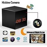 Hidden Spy Camera WiFi Wireless Network Nanny Camera Smart Clock Video Recorder with Motion Detection, Enhanced Night Vision, 12&24 Hour Alarm Clock, Black