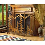 AW Rustic Forest Deer Holiday Christmas Metalwork FIREPLACE SCREEN w/Three-part folding design with Mesh Screen Review