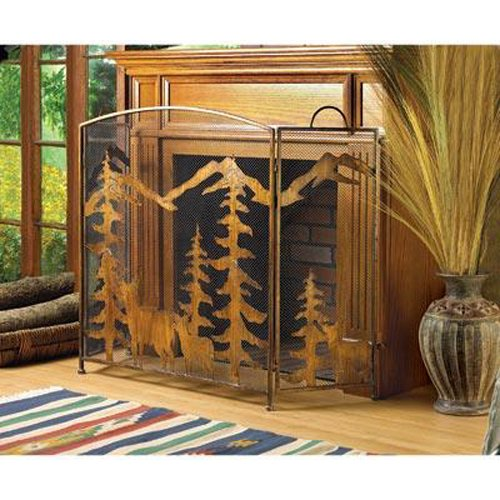 (Smart Living Company AW Rustic Forest Deer Holiday Christmas Metalwork Fireplace Screen w/Three-Part Folding Design with Mesh Screen)