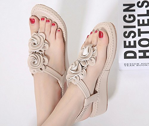 Beach Women's Apricot Elastic Shoes Flat 1 by Casual Sandals JiYe vXq7wdX