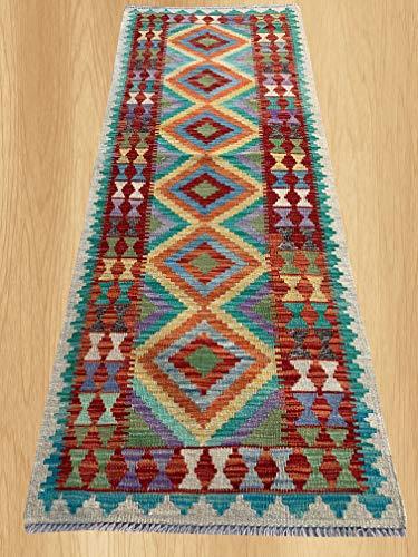 (Multi Color Hand Knotted Flat Weave Home Decor Oriental Afghan Veg Dyed Chobi Kilim Wool Area Geometric Runner Rug 6'3