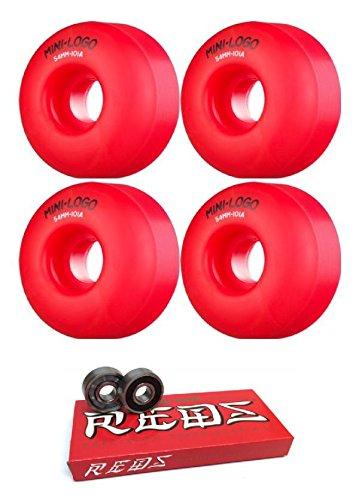 くしゃくしゃホステス信条mini-logo 54 mm c-cutスケートボードWheels with Bones Bearings – 8 mmスケートボードベアリングBones Super Redsスケート定格 – 2アイテムのバンドル