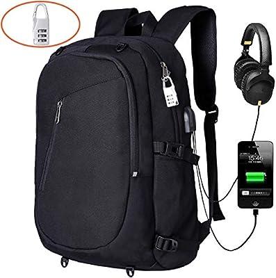 zhi wei Mochila de Ordenador,Mochila para Portátil de 15,6 Pulgadas con Puerto de Carga USB,Backpack Antirrobo Impermeable Mochila Bolso para
