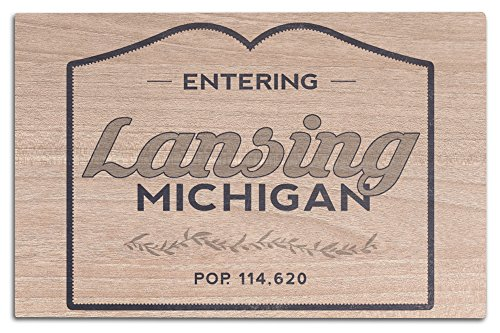Lantern Press Lansing, Michigan - Now Entering (Blue) (12x18 Wood Wall Sign, Wall Decor Ready to Hang) (Anderson Lansing Park)