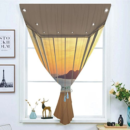 iPrint Blackout Window Curtain,Free Punching Magic Stickers Curtain,Landscape,Modern Design Empty House with Mountain Ocean Scenery,Marigold White Blue and Light Brown,Paste Style,for Living Room -
