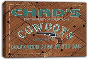 scqg1-0121 CHAD'S Cowboys Leave Your Guns At The Bar Beer Stretched Canvas Print Sign